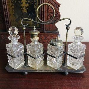 Beautiful British Crystal Cruet / Condiment Set